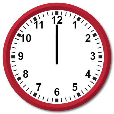 1200 Hours Military Time on the Analog Clock